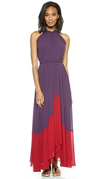 Saloni Iris Colorblock Halter Gown