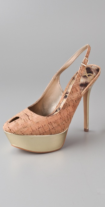 Sam Edelman Novato Gold Cork Pumps