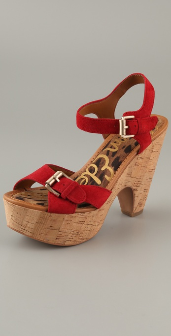 Sam Edelman Warner Suede Cork Platform Sandals