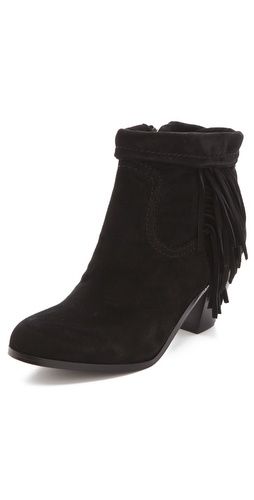 Shop Sam Edelman online and buy Sam Edelman Louie Fringe Booties - These suede booties feature a rolled cuff and seam details. Fringe at outer side and exposed zip at inner side. Stacked heel and faux-leather sole.  Heel: 2.5