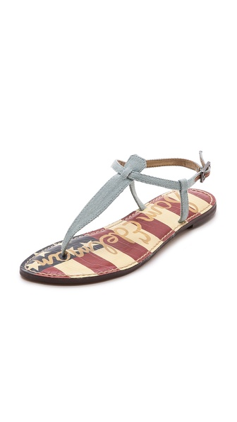 Kupi Sam Edelman cipele online i raspordaja za kupiti Classic Sam Edelman sandals styled in pale denim and detailed with a padded American flag print footbed. Buckle ankle strap. Rubber sole. Imported, China. This item cannot be gift boxed. Available sizes: 6,6.5,7,7.5,8,8.5,9,9.5,10