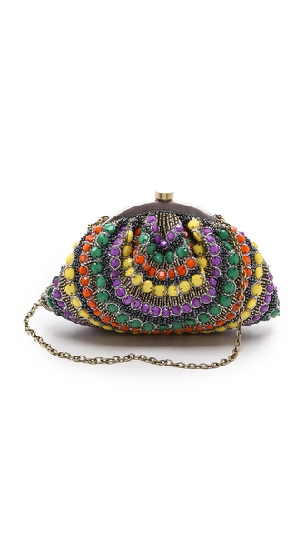 Kupi Santi tasnu online i raspordaja za kupiti Metallic and multicolored beads add girly charm to this soft Santi clutch. The push lock top opens to a satin interior, and the slim, optional chain strap tucks inside when not in use. Dust bag included. Weight: 13oz / 0.37kg. Imported, India. MEASUREMENTS Height: 4in / 10cm Length: 8in / 20.5cm Strap drop: 20in / 51cm. Available sizes: One Size
