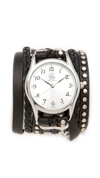 Sara Designs Leather Studded Wrap Watch