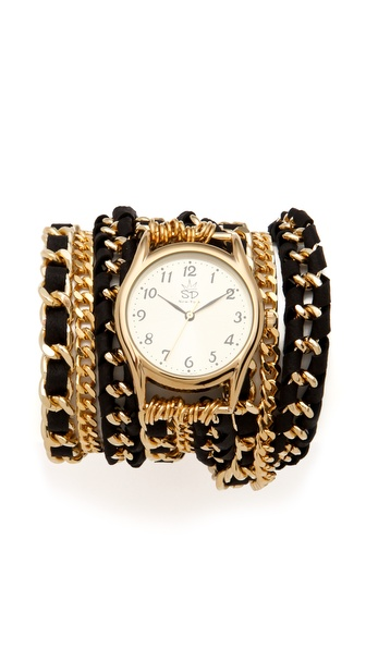 Sara Designs Lambskin Woven Wrap Watch