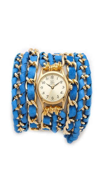 Sara Designs Small Lambskin Woven Wrap Watch