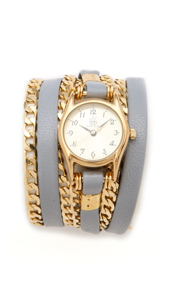 Sara Designs Classic Leather & Chain Wrap Watch