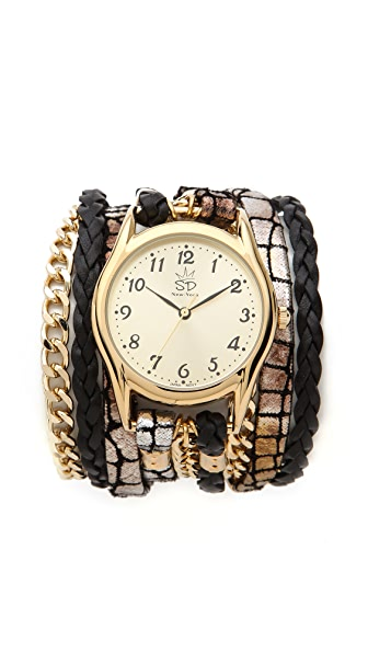 Sara Designs Leather & Chain Wrap Watch