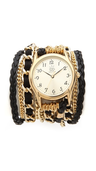 Sara Designs Braided Leather & Chain Wrap Watch