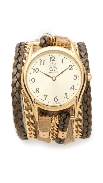 Sara Designs Print Leather & Chain Wrap Watch