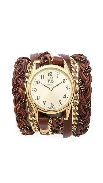 Sara Designs Leather Braid Chain Wrap Watch