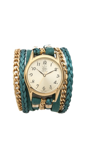 Sara Designs Nubuck Leather & Chain Wrap Watch