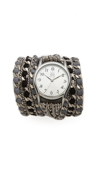 Sara Designs Woven Fancy Chain Wrap Watch