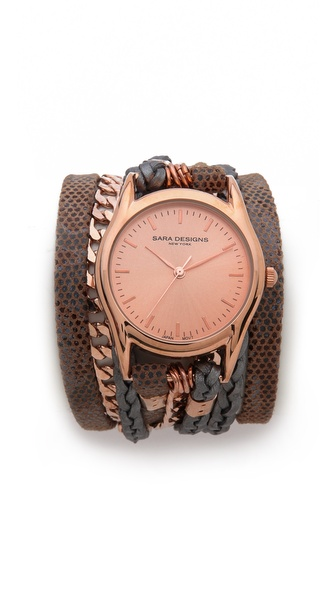 Sara Designs Latte Chain Wrap Watch
