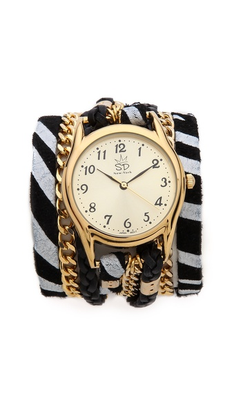Sara Designs Zebra Chain Wrap Watch