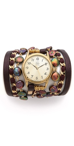 Sara Designs Coin Shaped Chain Wrap Watch at Shopbop / East Dane