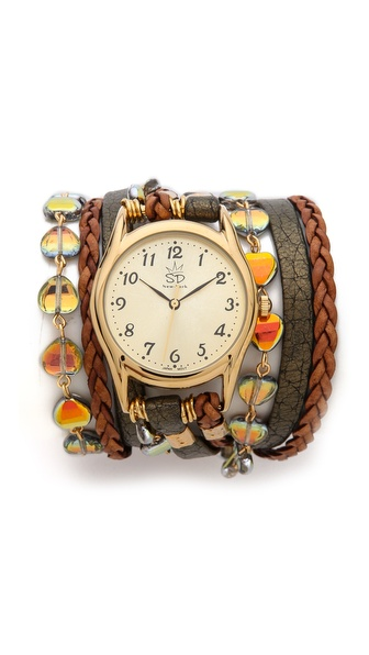Sara Designs Czech Glass Wrap Watch