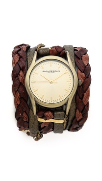 Sara Designs Natural Thick Braided Wrap Watch