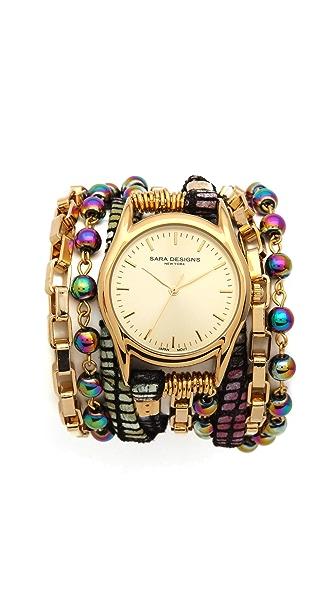 Sara Designs Stone & Crystal Wrap Watch