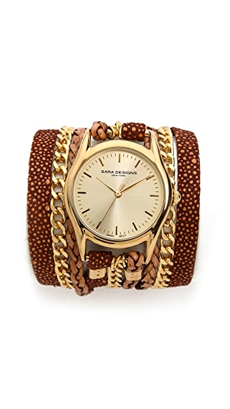 Sara Designs Cedar Leather & Chain Wrap Watch