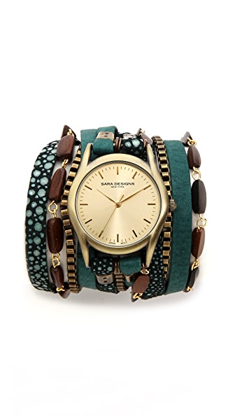 Sara Designs Nubuck Beaded Wrap Watch