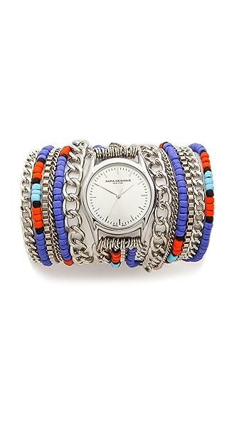 Sara Designs Beaded Chain Wrap Watch