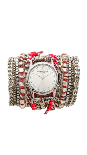 Sara Designs Cord & Chain Wrap Watch