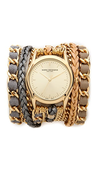 Sara Designs Woven Chain Wrap Watch