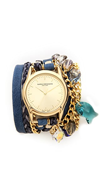 Sara Designs Crystal Chain Wrap Watch