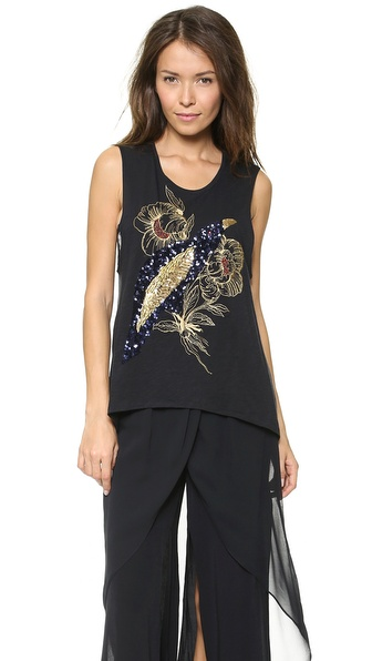 sass & bide A Version of Himself Embellished Muscle Tank