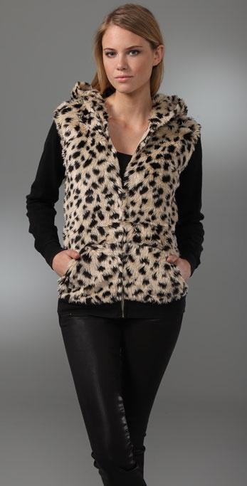 Sauce Faux Fur Leopard Hoodie