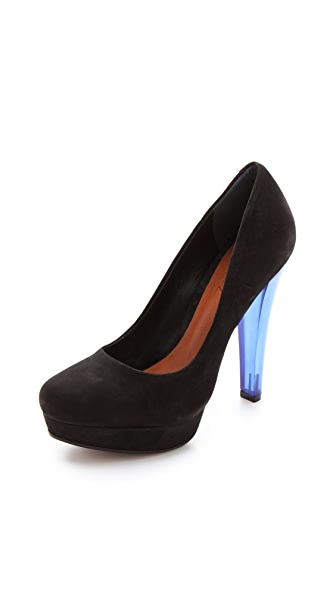 Schutz Suede Platform Pumps with Lucite Heel