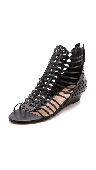 Schutz Freida Laser Cut Low Wedge Sandals
