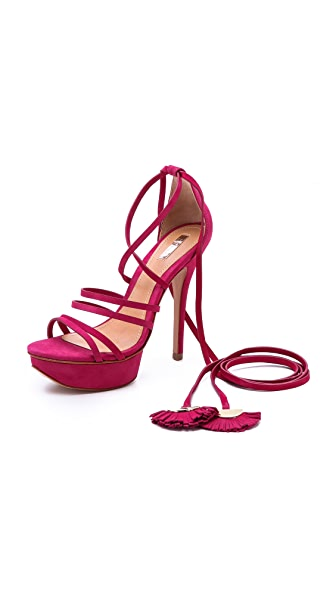 Wrap Wrap Ankle Wrap Platform Sandals (Red)