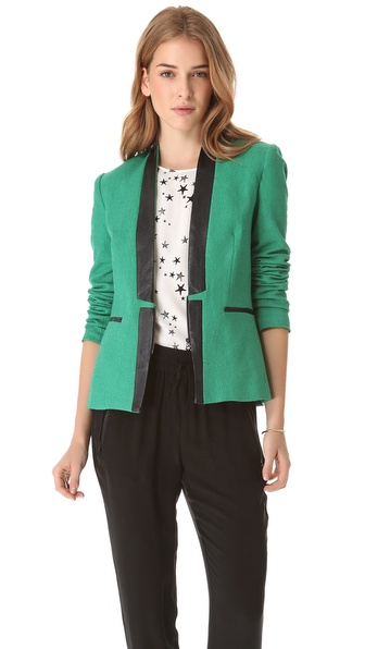 Sea Leather Insert Blazer