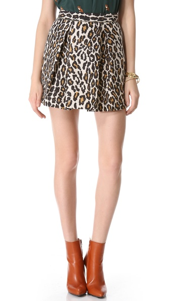 Sea Pleated Leopard Skirt