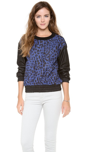Sea Leopard Leather Sweatshirt