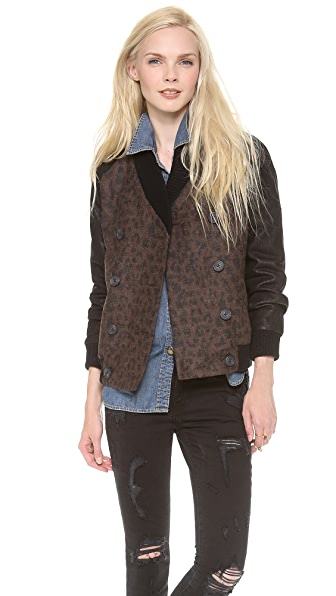 Sea Leopard Leather Wrap Jacket
