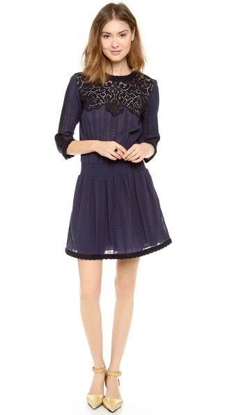 Sea Lace & Eyelet Long Sleeve Dress