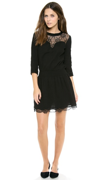 Sea Lace Combo Long Sleeve Dress
