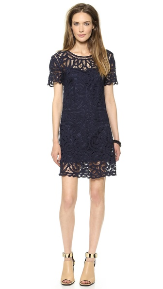 Sea Short Sleeve Lace Dress