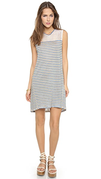 Shop Sea online and buy Sea Lace & Stripe Sleeveless Dress - Taupe/Blue dress online