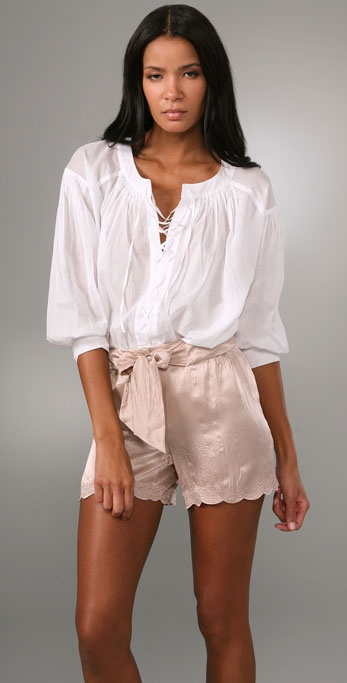 See by Chloe Cross Lace Peasant Blouse