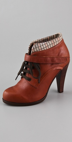 See by Chloe Lace Up Plaid Cuff Booties