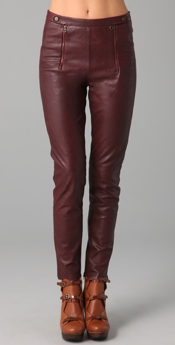 See by Chloe High Waisted Leather Pants with Scalloped Hem