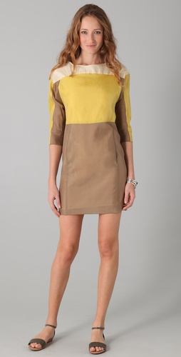 See by Chloe Long Sleeve Colorblock Dress