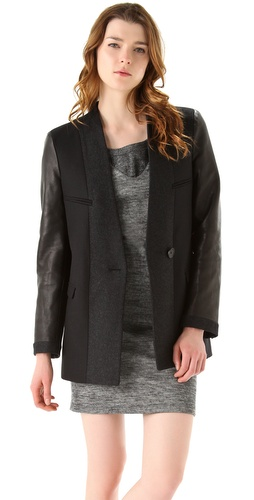 See by Chloe Leather Sleeve Two Tone Jacket