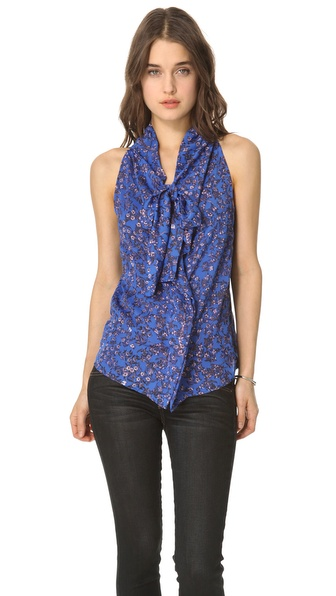 See by Chloe Tie Neck Printed Blouse