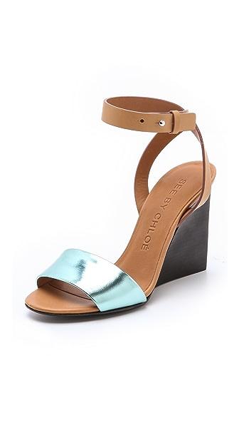 See by Chloe Metallic Wedge Sandals