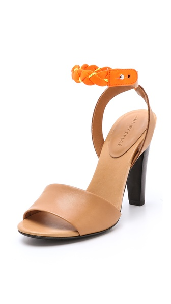 See by Chloe High Heel Sandals with Braided Ankle Strap