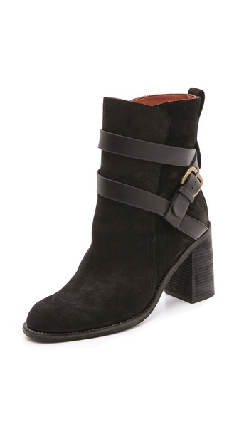See by Chloe Mid Heel Buckle Strap Booties
